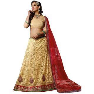 Suchi Fashion Beige and Red Net Embroidered Booti Work Lehenga