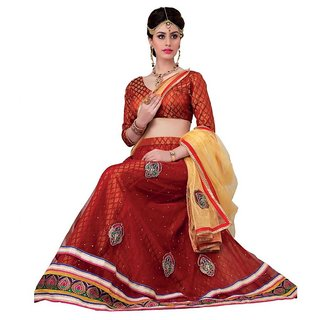 Suchi Fashion Red and Beige Net Embroidered Booti Work Lehenga