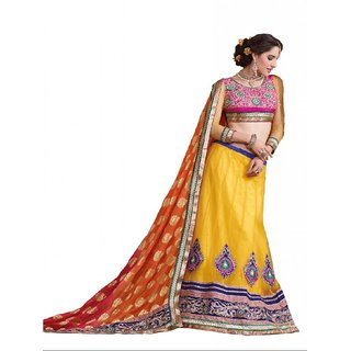 Suchi Fashion Yellow and Orange Net and Jacquard Lehenga Saree