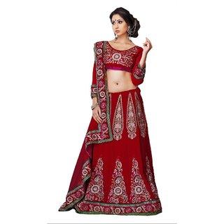 Suchi Fashion Red Velvet and Net Heavy Embroidery and Diamond work Lehenga Saree