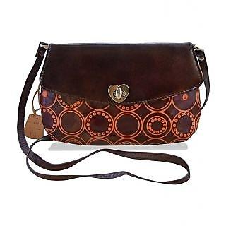 arpera Embossed Genuine Leather Brown Sling bag  C11517-2