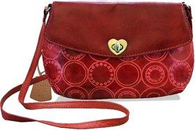 Arpera Embossed Genuine Leather Red Sling Bag  C11517-3