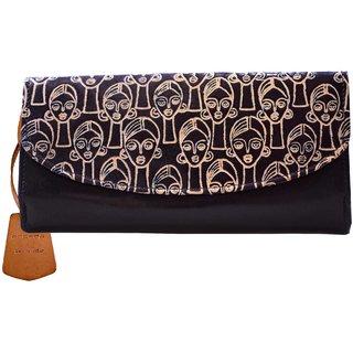 arpera monalisa genuine leather black ladies wallet-C11445-1A