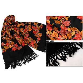 Hand Embroidered Designer Woolen Stole Black