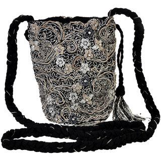 Diwaah!! SILVER E,bellished lady potli bag
