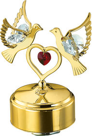 24K Gold Plated Musical Double Dove  Heart Showpiece