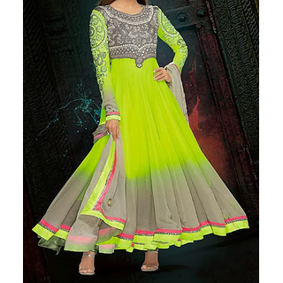 Gorgeous Anarkali Neon Green And Grey Suit