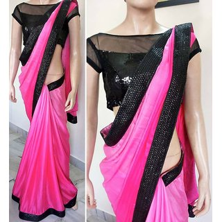 Designer Net And Georgette Sarees Pink And Black