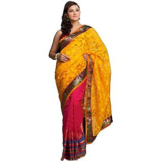 Designer Chanderi And Georgette Sarees Pink And Yellow