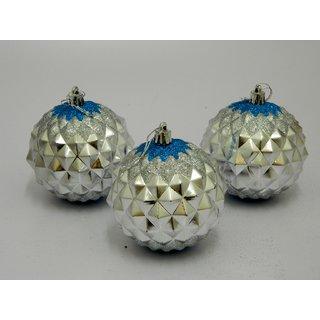 Cristmas Tree Decor Decorative Balls Set Of 3 Silver