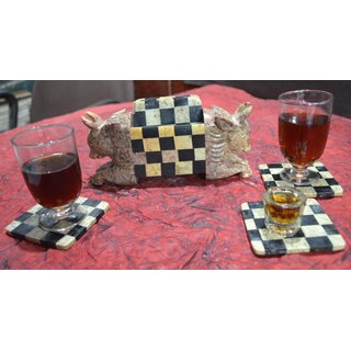Coaster Set ( Bull- Chess Design)