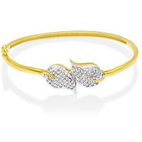 Mahi Gold Plated Shimmering Leaves Kada With Cz For Women Ba1102253G