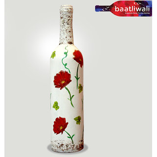 Hand Painted Red Flowers – White Bottle