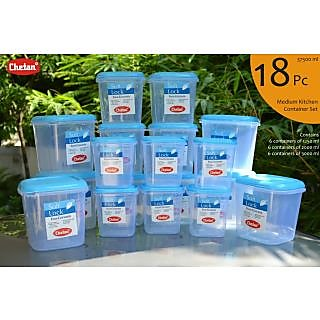 CHETAN 18 PC SET PLASTIC KITCHEN STORAGE CONTAINERS AIRTIGHT