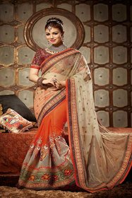 Attireme Peach Brocade Self Design Saree With Blouse