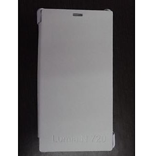 Nokia Lumia 720 Leather Flip Cover Case and Hard Back Cover - White