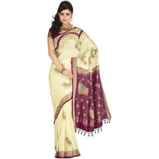 Krishna Multicolor Linen Self Design Saree With Blouse