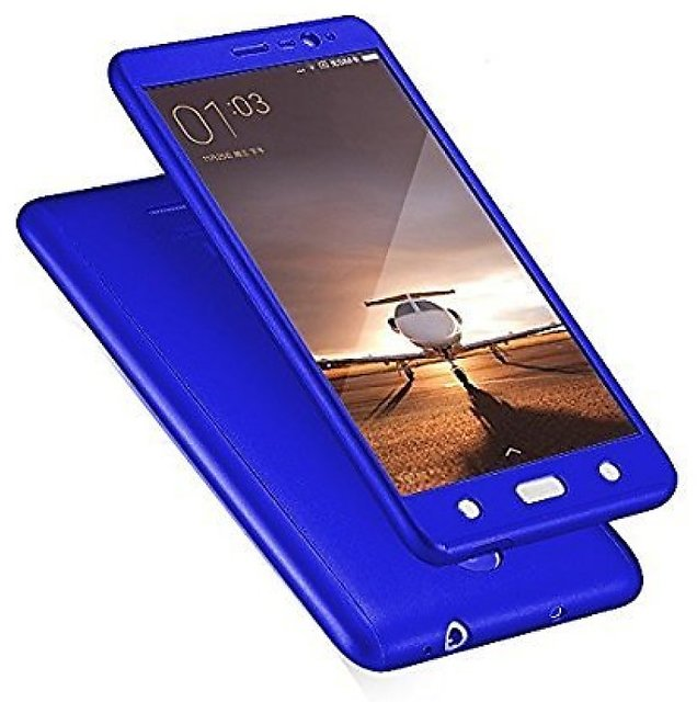 iPaky Full 360 Protection Front Back Cover With Tempered Glass for Samsung Galaxy J7 2016  Blue