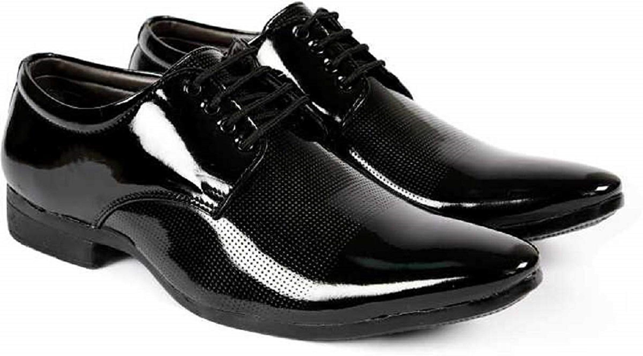 Jk Port Men's Black Genuine Leather Derby Party Formal Shoes