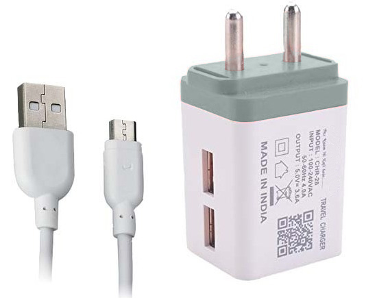 3.5 Amp 5V Dual USB Port Fast Wall Charger Without Heating Battery For All Smartphones Mobiles with Charging Cable