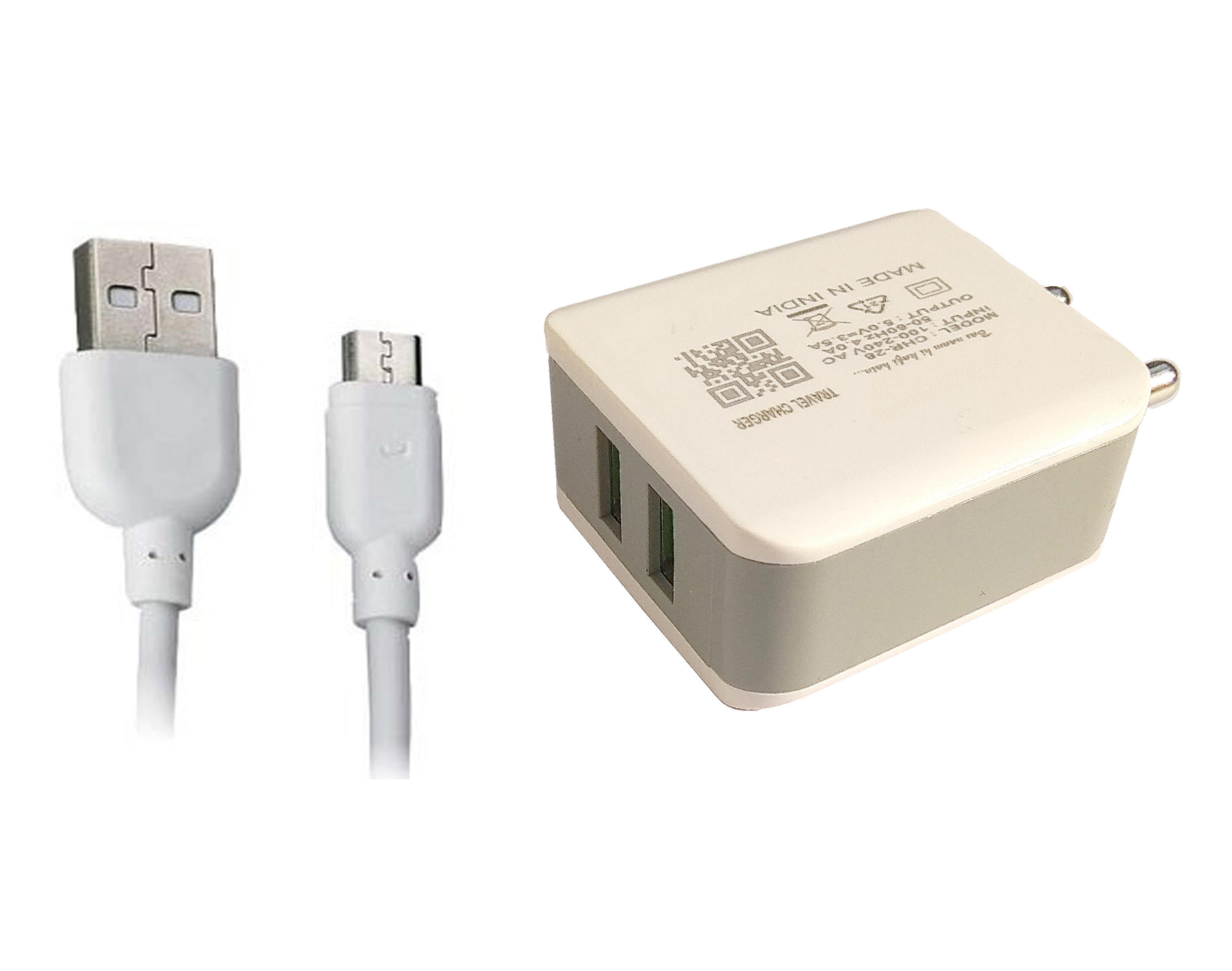 3.5 Amp 5V Dual USB Port Fast Charger Travel Adapter/Wall Charger/Dock For All Smartphones Mobiles with Charging Cable