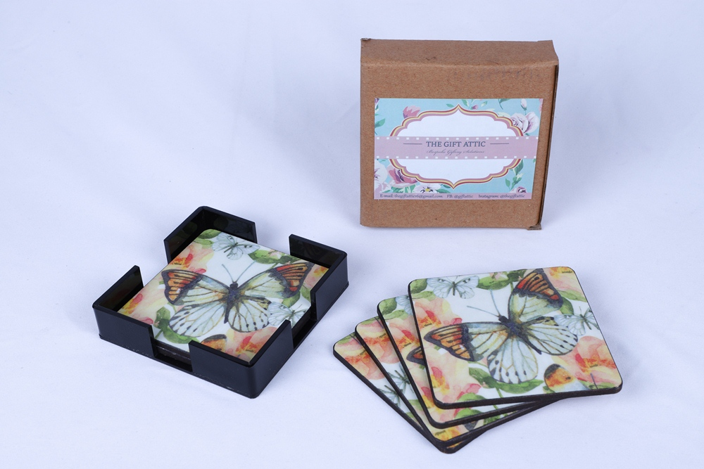 Handcrafted Decoupage English Floral Print Coasters with Acrylic Stand   Set of 6pcs   Peach Butterfly