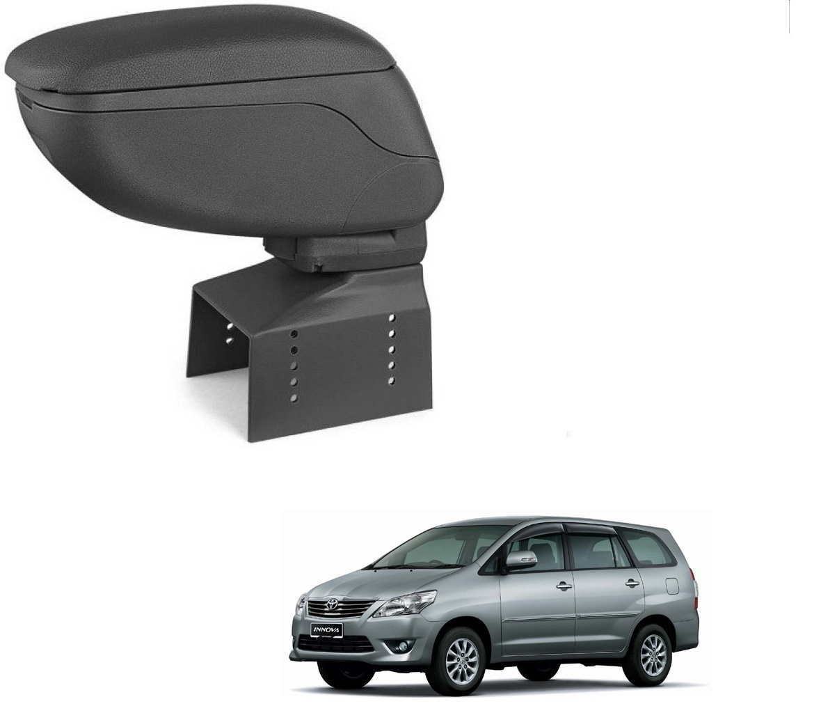 Auto Addict Car Armrest Console Black Color For Toyota Innova