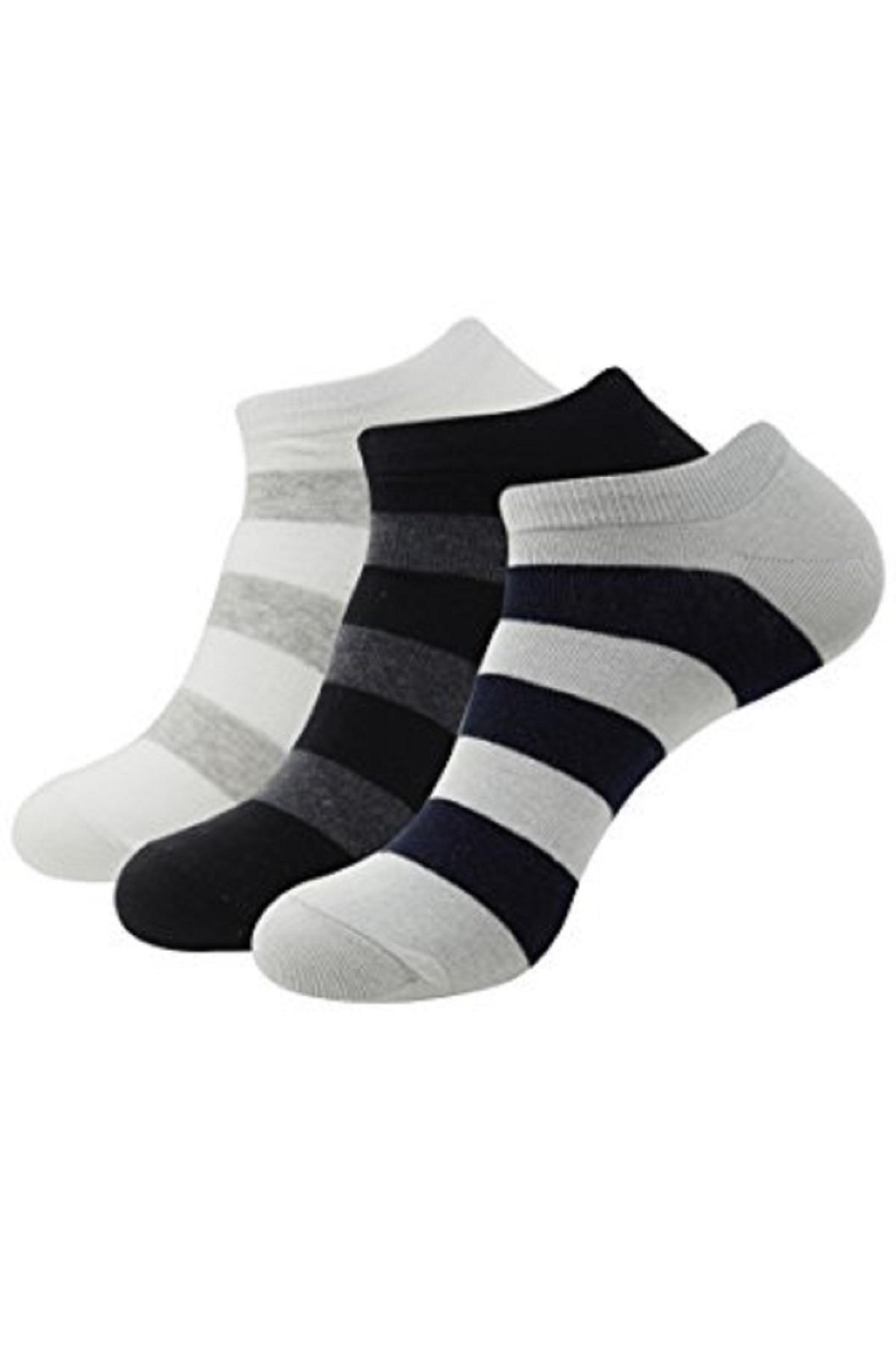 Balenzia Men's Ru gby Stripe Low Cut Socks  Pack of 3   Black, L.Grey, White