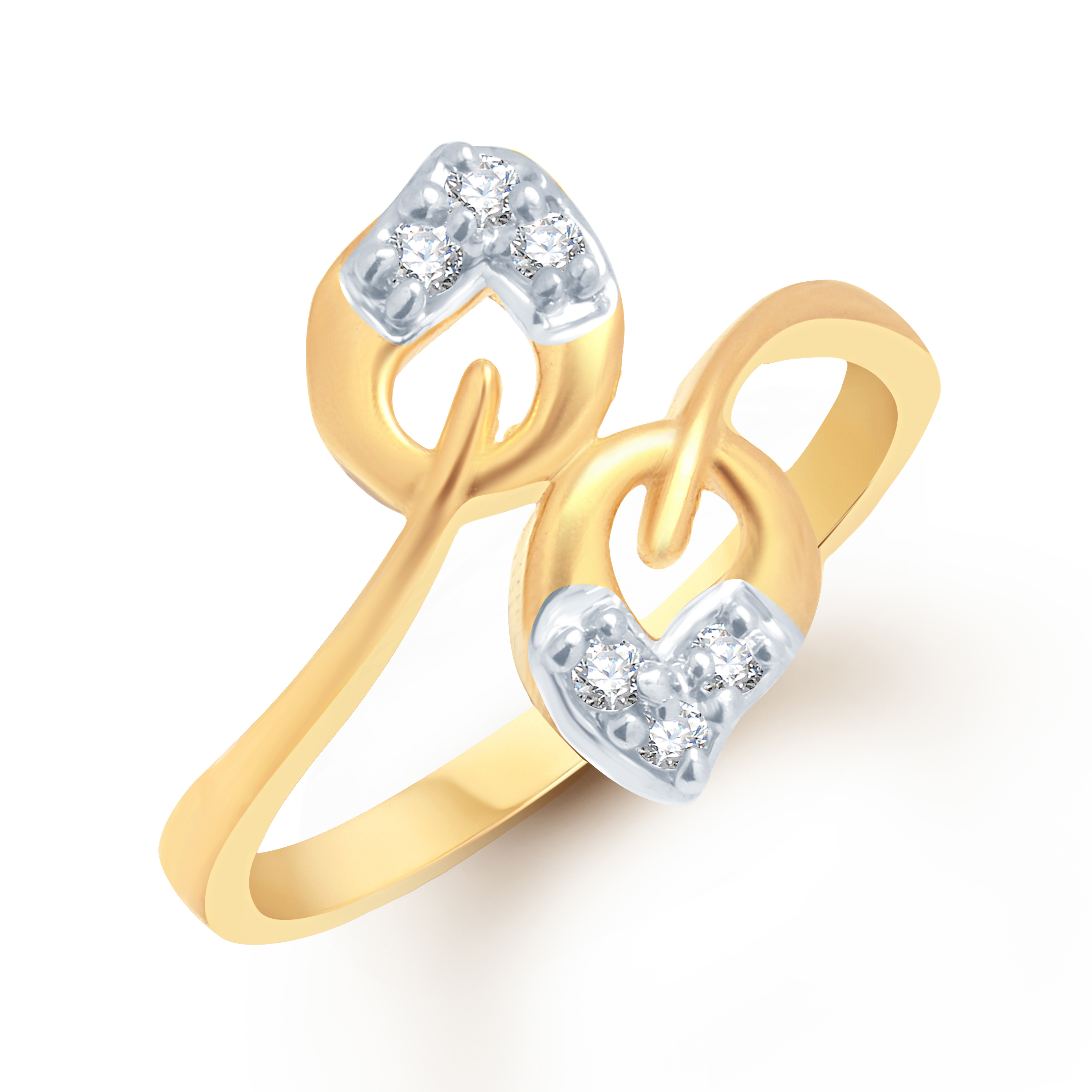 VK Jewels Two Leafs  CZ  Gold and Rhodium Plated Alloy American Diamond Ring [VKFR1035G8]
