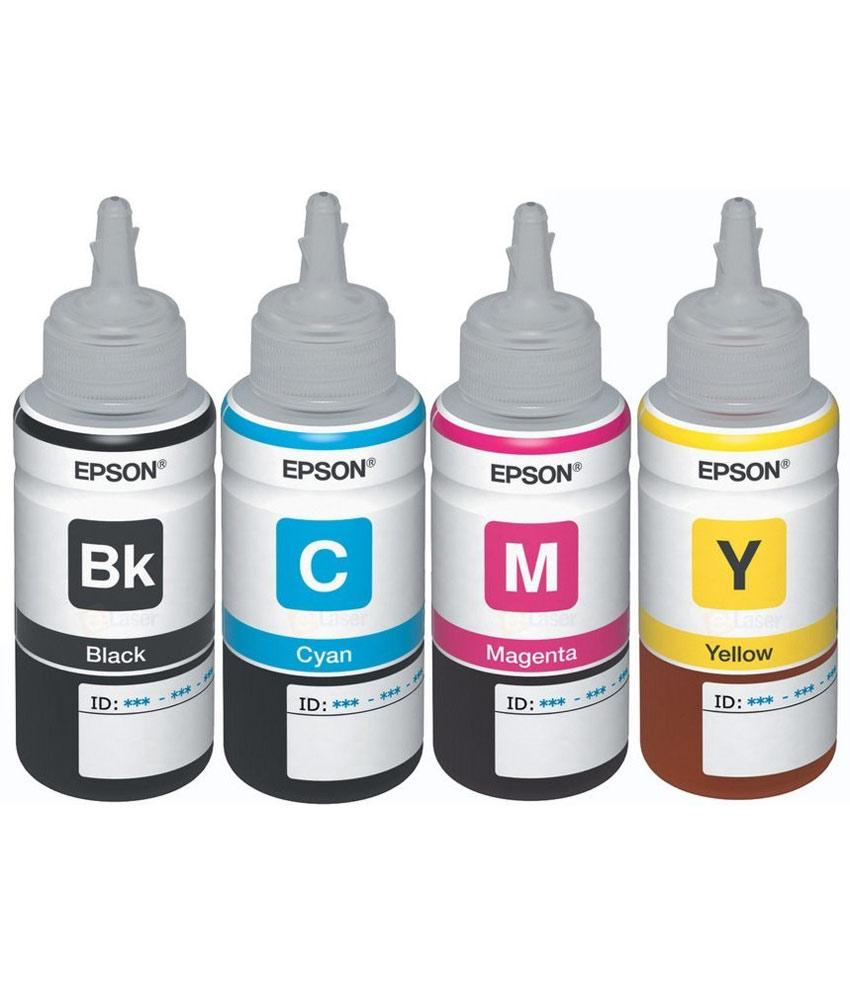 Original Epson Ink All Colors  T6641 B,T6642 C,T6643 M,T6644 Y  70 Ml Each For L100/L110/L200/L210/L300/L350/L355/L550