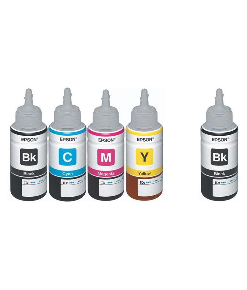 Original Epson Ink All Colors + Black Extra 70 Ml Each For L100/L110/L200/L210/L300/L350/L355/L550