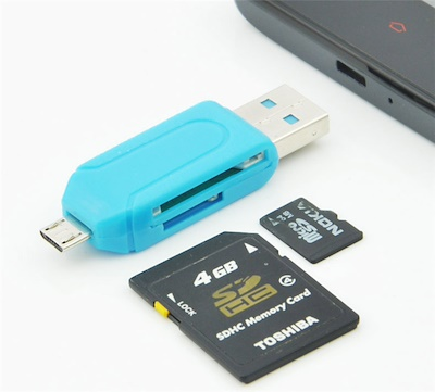 PREMIUM E COMMERCE OTG Smart TF Card Reader Adapter with 2.0 USB HUB Compatible All Android Phone