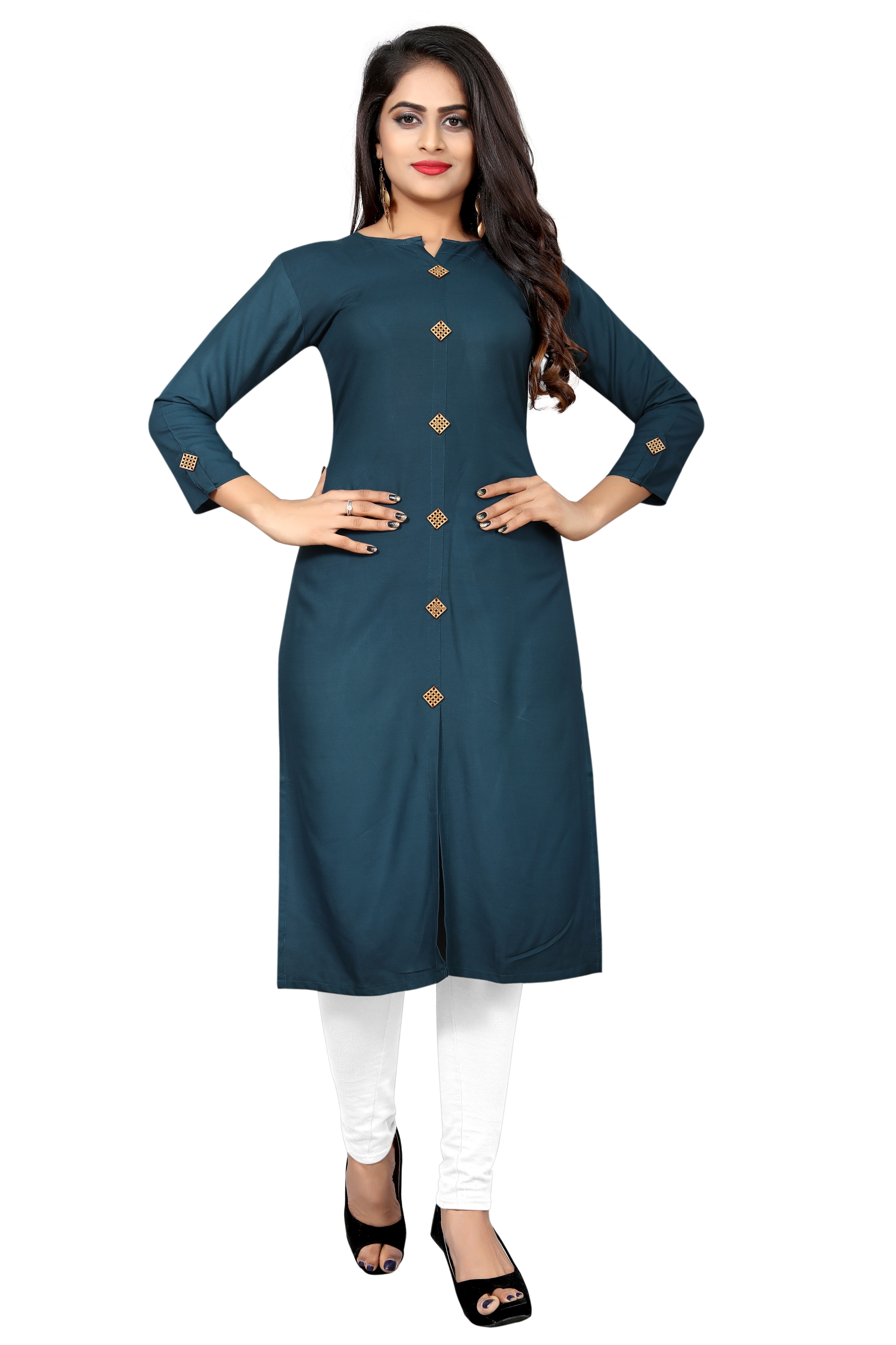 Beelee typs Teal Casual Rayon Solid Women Stitched Kurti