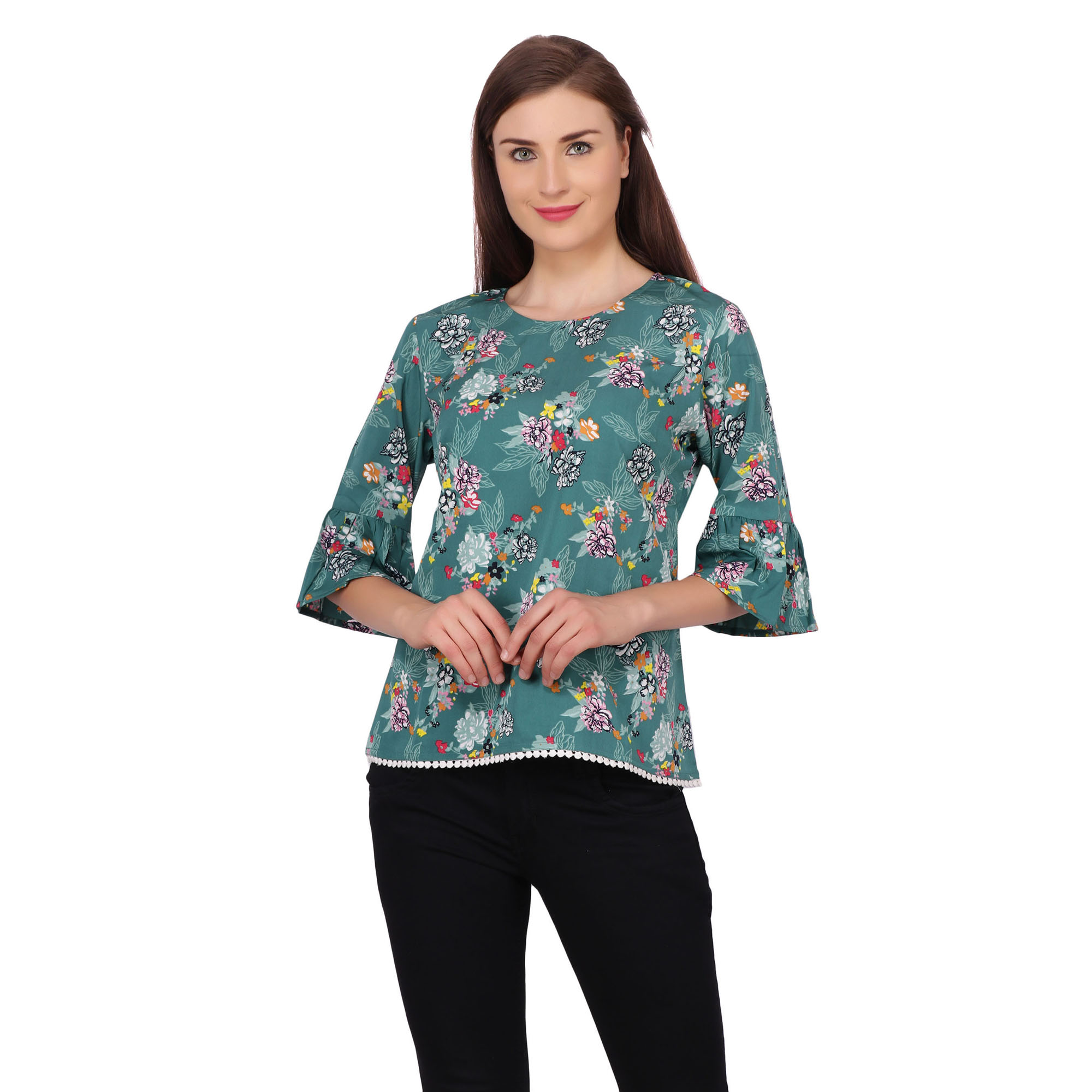 POPWINGS Casual Bell Sleeves Round Neck Floral Print Sea Green Regular Top