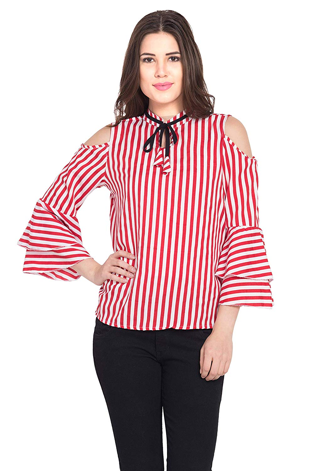 Trendey Tiska Casual Layered Sleeve Striped Women Red Top