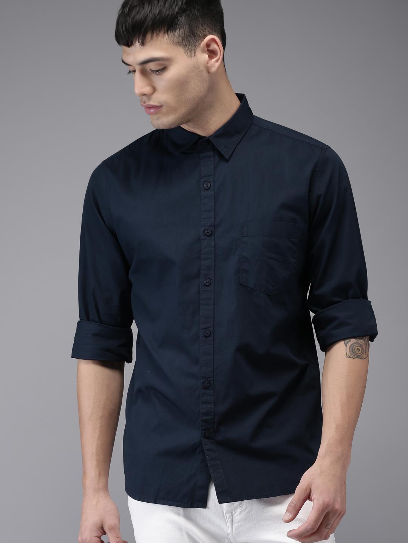 Men Solid Casual Navy Blue Shirt For Men