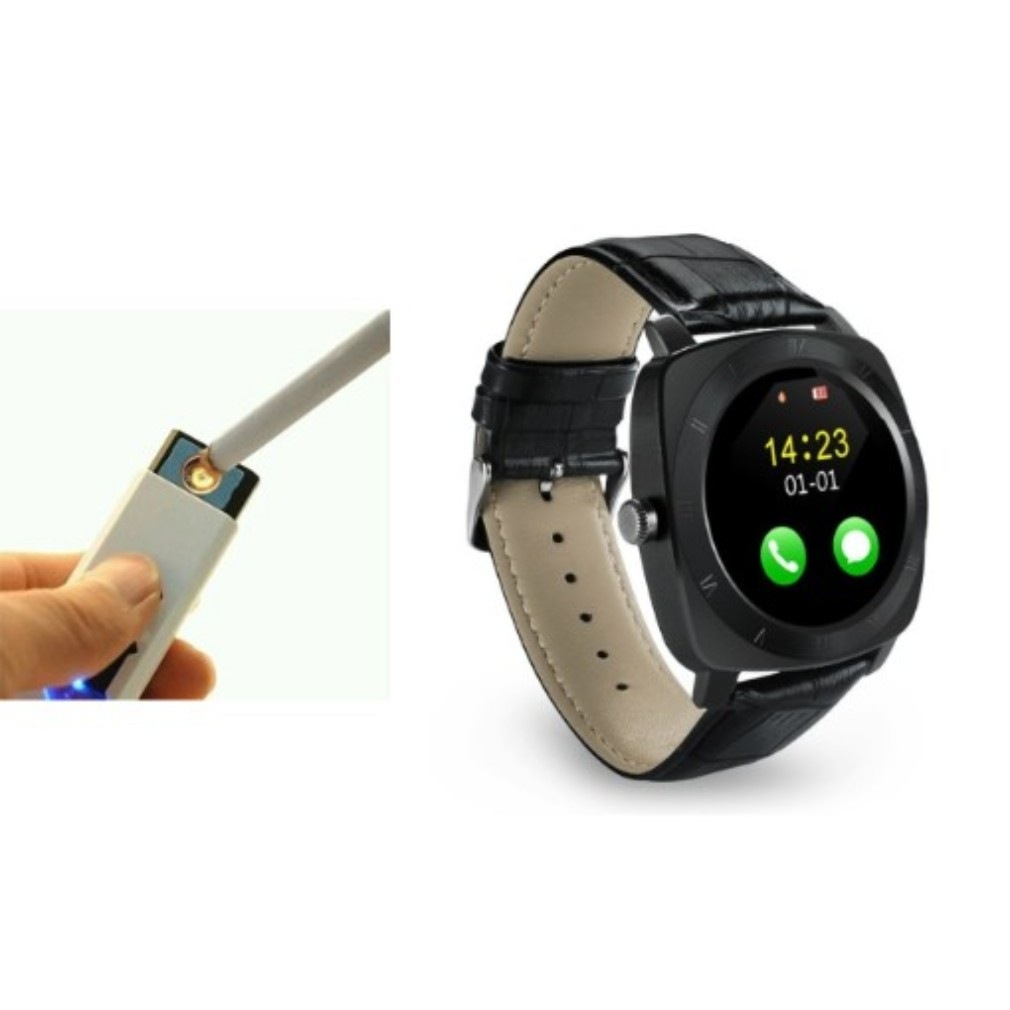 Flameless Cigarette Lighter and X3 Smart Watch   Rechargeable   Electronic   Windproof   Eco Friendly   Unique USB  Cigarette Lighter   Pocket Friendly PRX_383