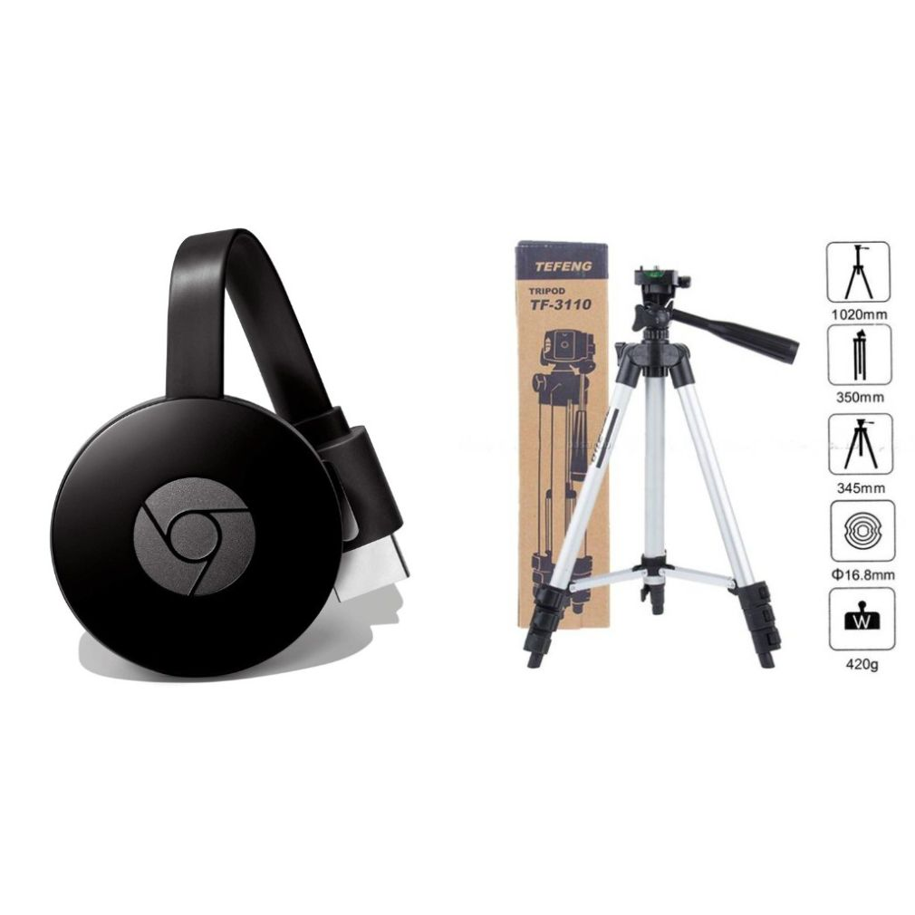 Chromecast WiFi HDMI Dongle and 3110 Camera Tripod|Wireless Display for TVLaptopDesktopTablet Compatible with All Smartphone|