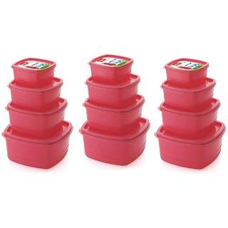 Plastic Food Storage Containers Set of 12 PCS  1350 ml, 750 ml, 500 ml, 250 ml , Pink
