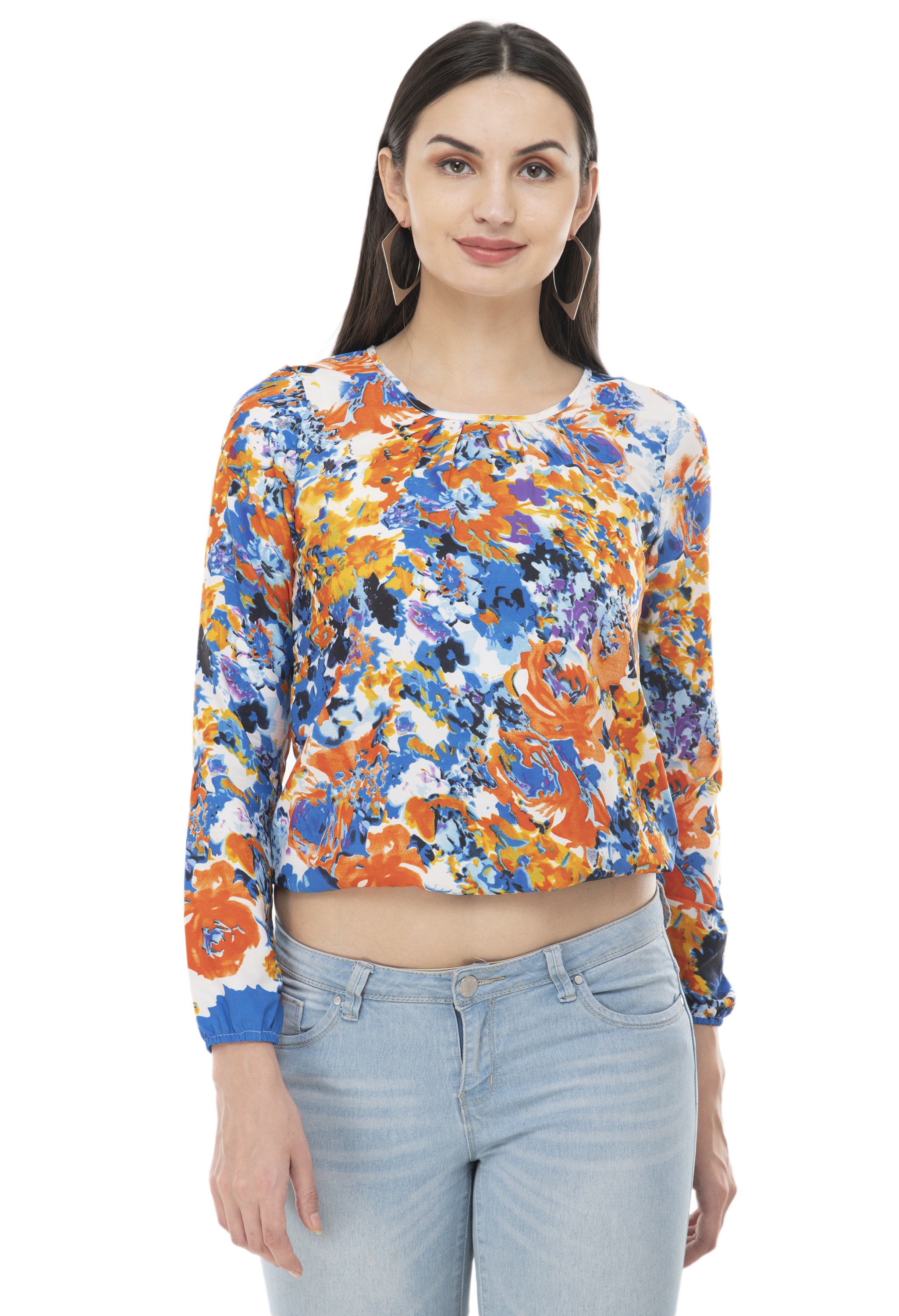Fairiano Women Casual Full Sleeve Orange Printed Multi Color's Top