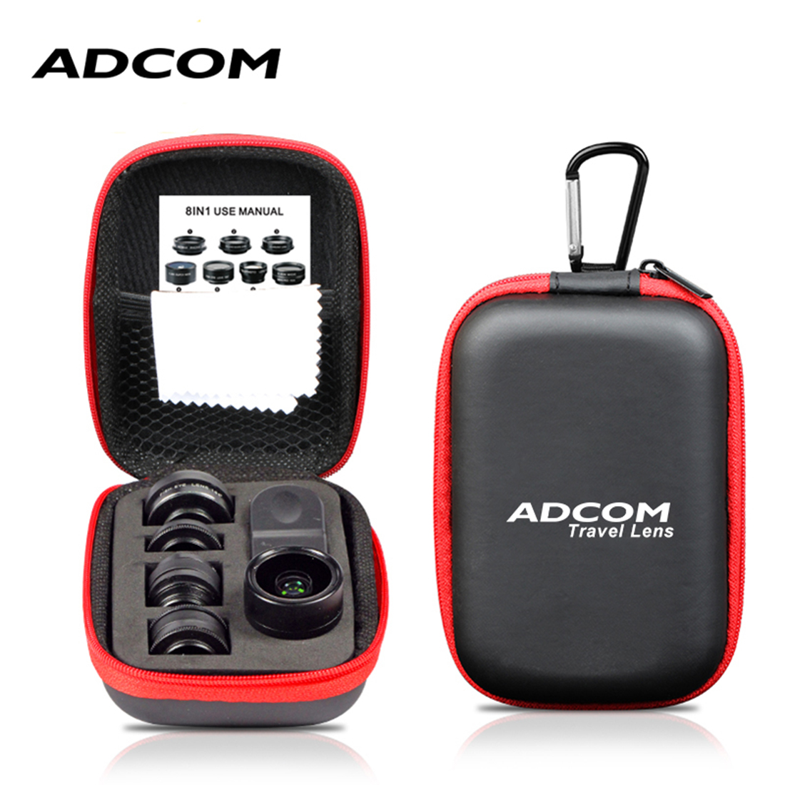 Adcom 8 in 1 Mobile Phone Camera Lens Kit Compatible with All iPhone Android Smartphones  Black