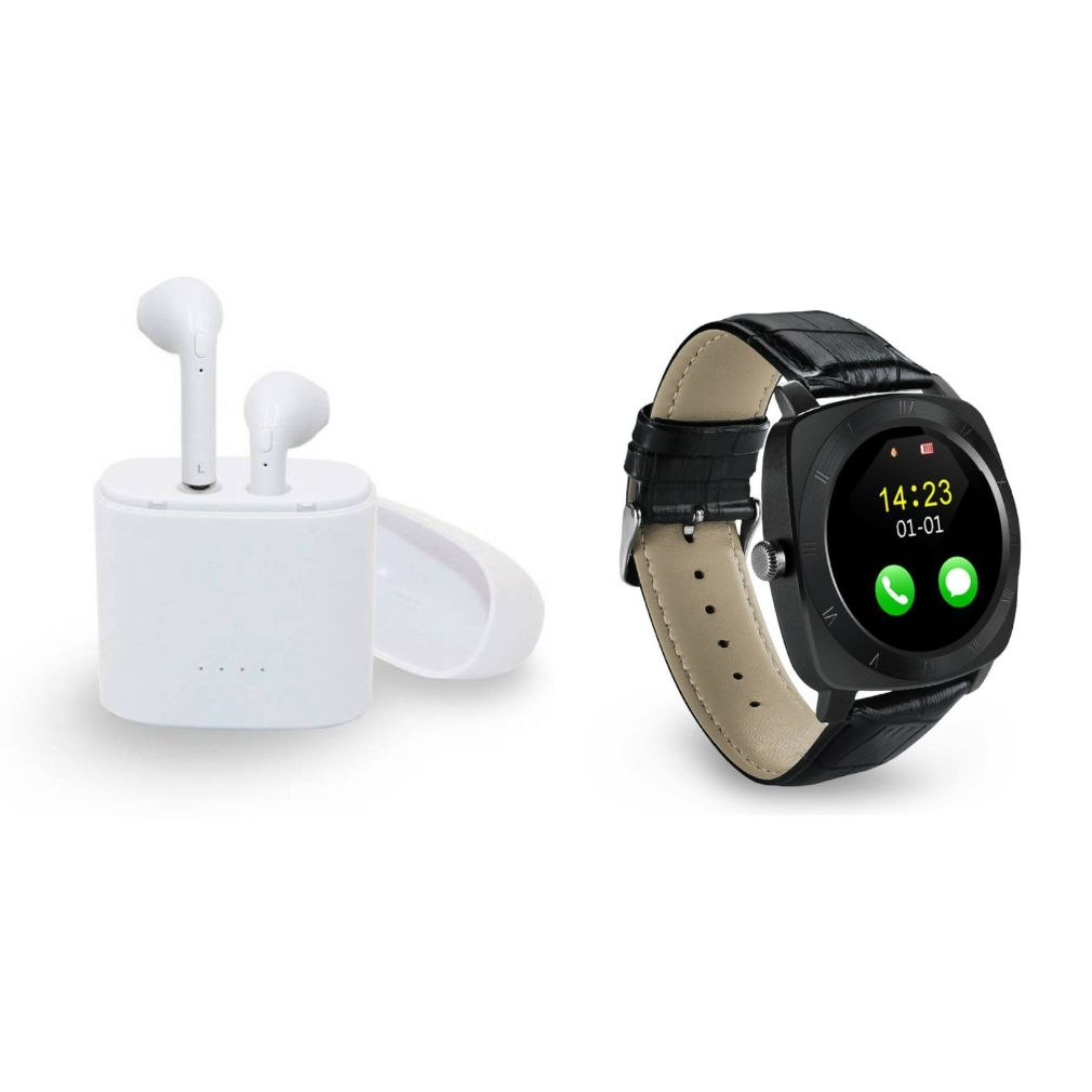 I7 Twins Blutooth Headset and X3 Smart Watch|TWS Earbuds Headsets Double Twins Stereo Music Earphone Bluetooth Headset with Mic|