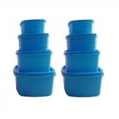 Plastic Food Storage Containers Set of 8 PCS  1350 ml, 750 ml, 500 ml, 250 ml , Blue