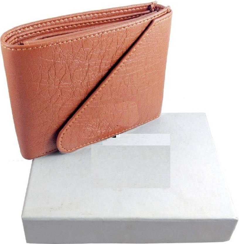Pure Tan Brown Stylish Tri Fold LeatherWallet for Men  Synthetic leather/Rexine