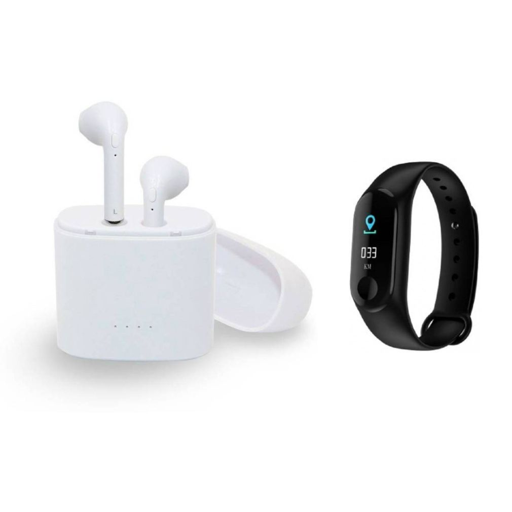 I7 Twins Blutooth Headset and M3 fitness band|TWS Earbuds Headsets Double Twins Stereo Music Earphone Bluetooth Headset with Mic|L3