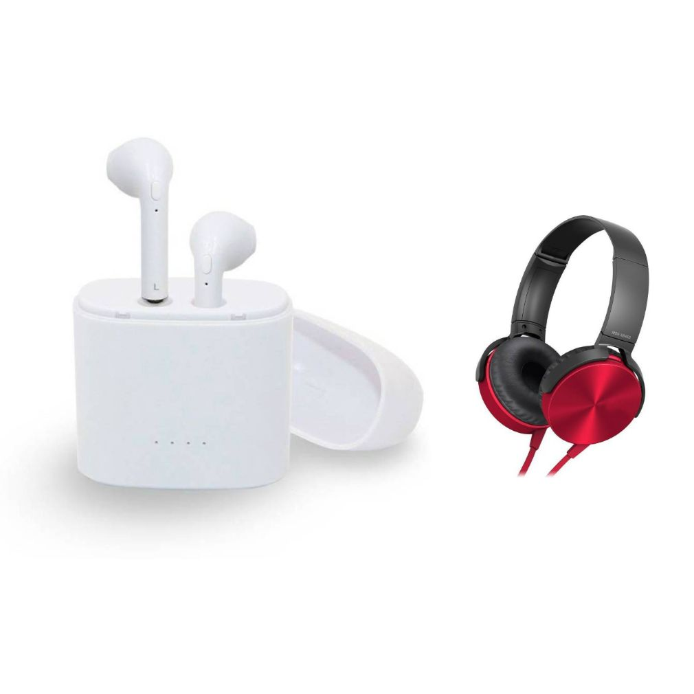 I7 Twins Blutooth Headset and XB450 Wired Headset|TWS Earbuds Headsets Double Twins Stereo Music Earphone Bluetooth Headset with Mic|L98