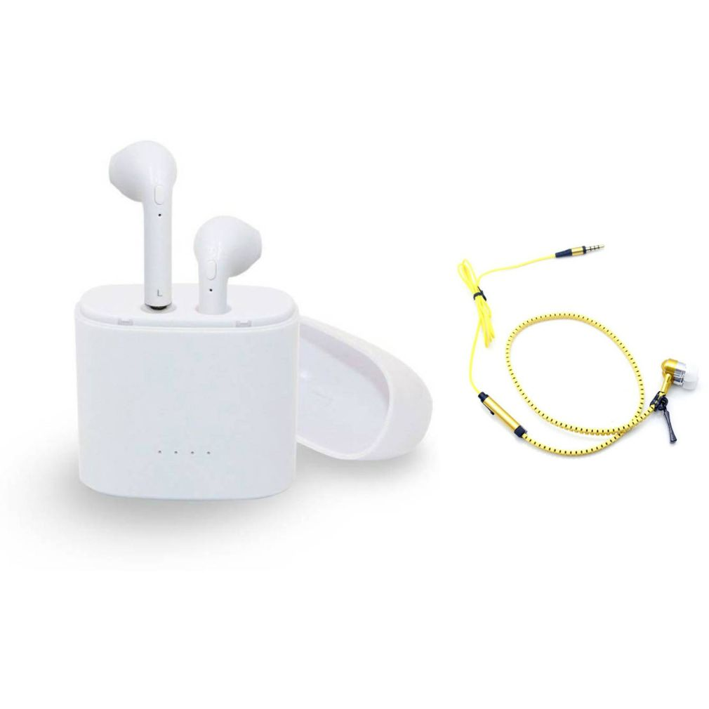 I7 Twins Blutooth Headset and Zipper Wired Headset|TWS Earbuds Headsets Double Twins Stereo Music Earphone Bluetooth Headset with Mic|L99
