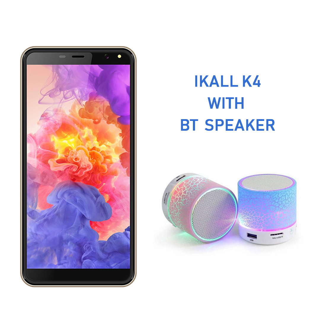 IKall K4 Smart Phone 4G VoLTE 2  GB 16  GB with Bluetooth Speaker Gold