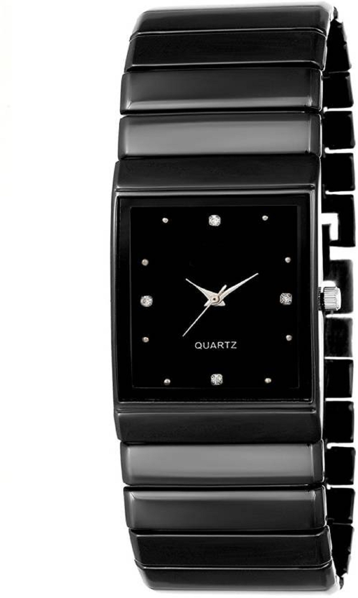 True Colors Black Analog Metal Quartz Rectangle Casual Watch For Men