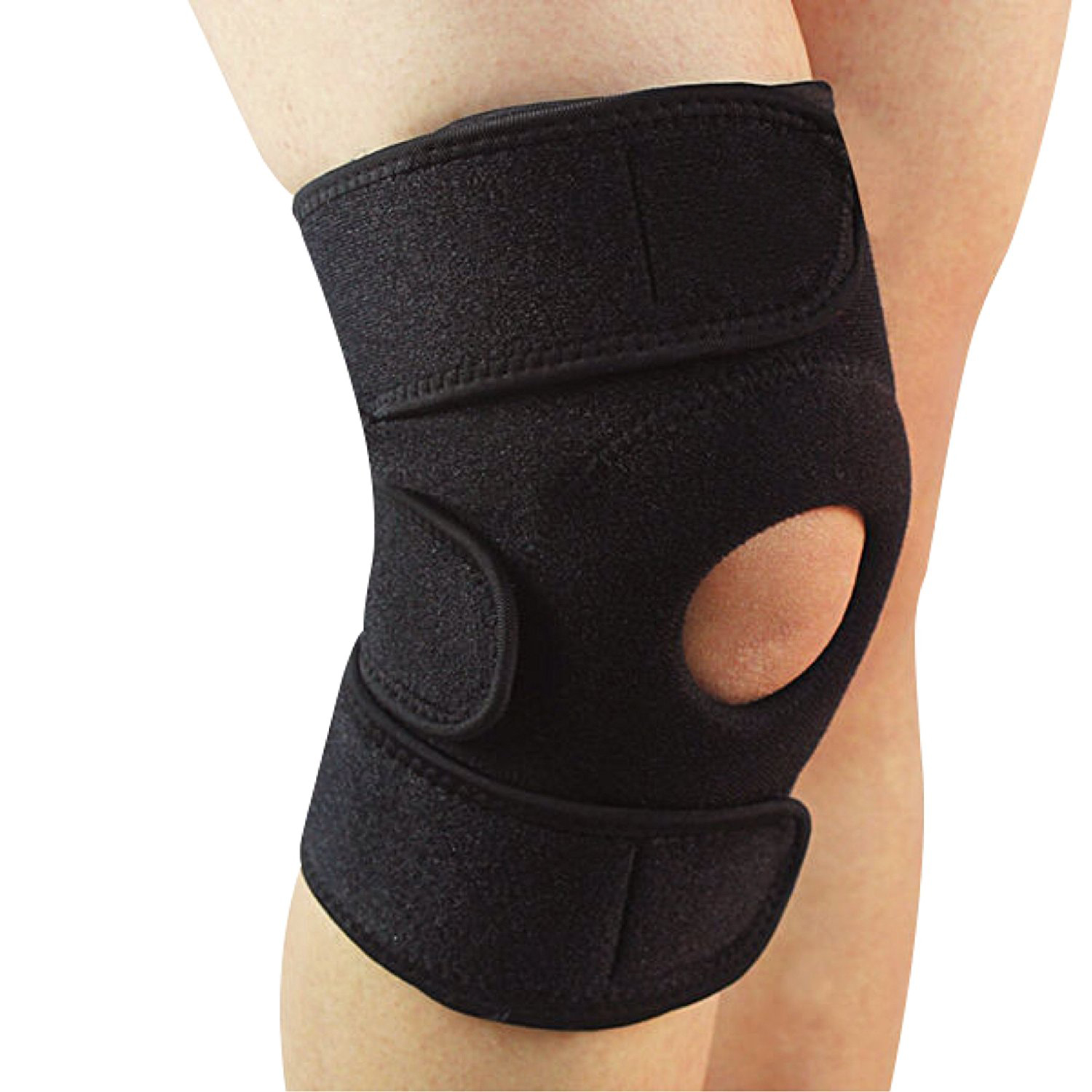 GymWar Patella Adjustable Knee Support Knee Cap Knee knee guard , Free Size  Black  1pc